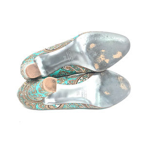 J. Crew Shoes - J. Crew Turquoise Paisley Silk Round Toe Pumps